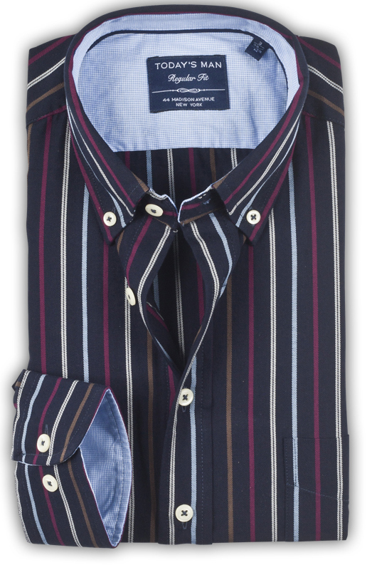 Today's Man Long Sleeved Shirt - Multi Stripe