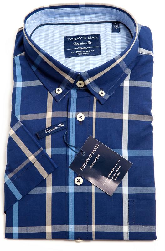 Today's Man Short Sleeved Shirt - Blue Bold Check