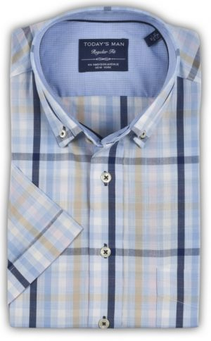 Today's Man Short Sleeved Shirt - Multi Coloured Check