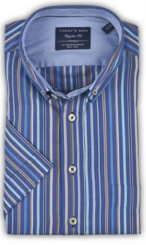 Today's Man Short Sleeved Shirt - Multi Striped