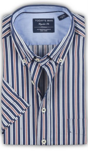 Today's Man Short Sleeved Shirt - Stripe