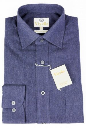 "Viyella Cotton and Wool Blend Shirt - Blue Herringbone-16""Only"