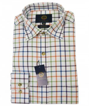 Viyella Brushed Cotton Shirt - Orange & Green Check