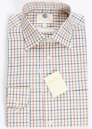 "Viyella Cotton and Wool Blend shirt - Neat Check - Size 15"" Only"