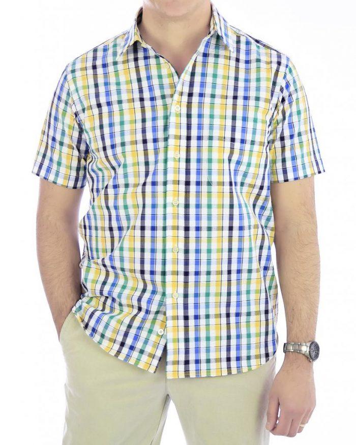 Viyella Seersucker Short Sleeved Shirt - Size Small Only